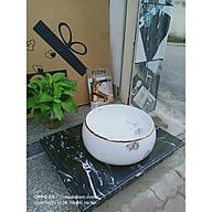 COMBO 2 Chậu lavabo tròn hoa cánh tiên + bàn đá vân mây đen + vòi vàng hoa + xi phông + giá đỡ thumbnail