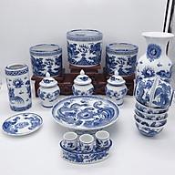 Bộ đồ thờ gia tiên men xanh lam họa tiết long phụng - 19 món thumbnail