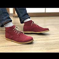 Giày nam cao cổ buộc dây da bò lộn cao cấp màu đỏ đô DarkRed 1929 Sr7 - Giày boots nam cổ thấp buộc dây thumbnail