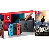 COMBO Máy chơi Game Nintendo Switch With Neon Blue Red Joy-Con + The Legend of Zelda Breath of the Wild - Hàng nhập khẩu thumbnail