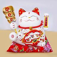 Mèo thần tài vẫy tay cầm xiên tiền vàng thumbnail