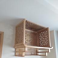 Bàn thờ treo tường gỗ sồi mầu tự nhiên,combo tấm chống ám khói và vách trang trí ốp lưng và hai vách hai bên thumbnail