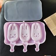 Khuôn làm kem silicon Hình Thỏ kèm 50 que gỗ tiện dụng thumbnail