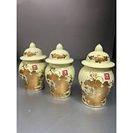 Combo 3 hũ thờ gạo muối bước bằng sứ sen vàng -TL297 thumbnail