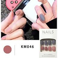 Bộ 24 móng tay giả 2 màu đơn sắc(KM046) tặng kèm thun lò xo cột tóc màu đen tiện lợi thumbnail