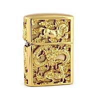Hột Quẹt Bật Lửa Xăng Đá Chief 0975 Khắc Rồng Cuộn 4 Mặt, Nắp Khắc Ngựa (Vàng) thumbnail