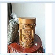 Hộp đựng trà - hộp đựng chè cao cấp gỗ bách xanh tiện nguyên khối mẫu tứ quý tùng - cúc - trúc - mai loại to cao cực thơm thumbnail
