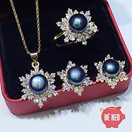 Bộ trang sức ngọc trai nuôi nước ngọt hoa tuyết 3 món cao cấp - Trang sức Bé Heo BHB178 thumbnail