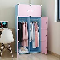 Tủ nhựa lắp ghép 8 ô màu xanh trời, cửa hồng, 2 treo thumbnail