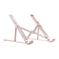 6-level Adjustable Laptop Stand Portable Aluminum Alloy Laptop Stand Foldable Non-slip Notebook Holder Rose Gold thumbnail