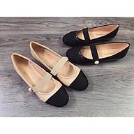 Giày Bệt Nữ Da Mềm Quai Ngang Đính Hạt Ngọc Êm Chân Sang Chảnh thumbnail