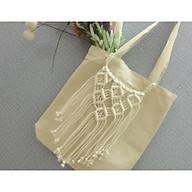 túi tote vải canvas có khóa phối dây tết macrame trang trí độc đáo thumbnail