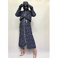 Áo chống nắng toàn thân 2 lớp cao cấp thoáng mát (Xanh hoa trắng) thumbnail