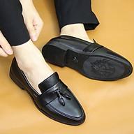 Giày lười da nam, Da mềm cao cấp không bóng, Có chuông, Đế cao su non cao 3cm, Khâu đế, Màu đen, Mã l192, Hàng Việt Nam thumbnail