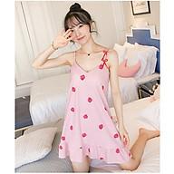 Váy đầm ngủ 2 dây mặc nhà họa tiết hình dâu cute, vải mềm mịn có nệm ngực Vn21 thumbnail