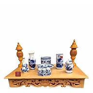 Combo bộ bàn thờ treo tường gỗ PM và bộ bát nhang thờ Thổ Công bằng sứ bao gồm đèn thờ và bộ đồ thờ rồng sen trắng sứ xanh thumbnail