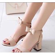 Giày Sandal Cao Gót Nữ Đế Vuông Phối Nơ 7p - GN26 thumbnail