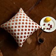Vỏ Gối Tựa Lưng Dệt Sợi Jacquard Phối Màu Dot Light Cam Trắng thumbnail