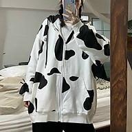 Áo khoác hoodie phối dây kéo họa tiết bò sữa cute độc đáo dáng rộng,mặc 4 mùa Thương hiệu Bảo Bảo Store thumbnail
