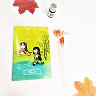 Bút Thủy Tinh Pha Lê Hoa Hồng Nhúng Mực Viết Nghệ Thuật Tặng Kèm Sổ Tay Mini - Màu Cam thumbnail
