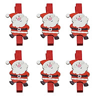 Bộ 6 Kẹp Ảnh Gỗ Trang Trí Giáng Sinh - Ông Già Noel Ngộ Nghĩnh thumbnail