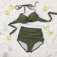 Set bikini gọng siêu nâng, quần lưng cao xanh rêu thumbnail