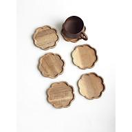 (Bộ 6) Miếng lót ly, cốc hình hoa bằng gỗ màu tự nhiên bền đẹp thumbnail