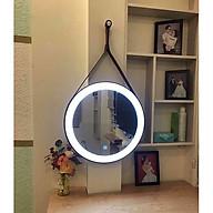 Gương tròn dây da đèn led D50 thumbnail