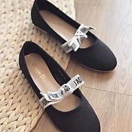 Giày Bệt Giày Búp Bê Nữ Màu Đen Đính Nơ Trắng Xinh Xắn Dễ Thương - Hàng Loại Đẹp thumbnail