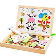 Đồ chơi gỗ ghép hình con vật trên bảng từ thông minh cho bé tập sáng tạo thumbnail