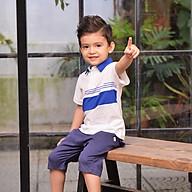 Áo phông bé trai có cổ màu xanh Crown Space Fashion TShirt CKBS2101009.NB vải cotton thoáng mát size 4-9 cho bé 4-10 Tuổi thumbnail