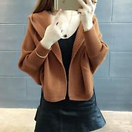 Áo len nữ cadigan Hàn Quốc có mũ thumbnail