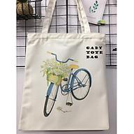 Túi tote vải canvas họa tiết xe đạp đeo vai đi học, đẹp, giá rẻ GADY thumbnail