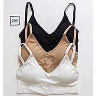 COMBO 3 Áo bra thun gân cotton khoét lưng có mút mềm thấm mồ hôi siêu mát. thumbnail