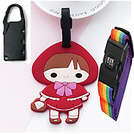 Combo thẻ hành lý, thẻ tên vali hình hoạt hình cute (giao hàng mẫu ngẫu nhiên) + Khóa + Dây đai vali cố định thumbnail