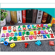 Bảng chữ cái và số cho bé kèm hình khối cột tính bậc thang, đồ chơi học tập, bảng ghép hình bằng gỗ thuộc giáo cụ Montessori giúp phát triển trí tuệ và kỹ năng cho trẻ - tặng kèm còi gỗ cho bé thumbnail