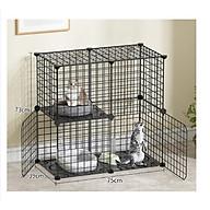 Chuồng mèo tầng 2 tầng giá rẻ đẹp,lắp ghép đa năng đơn giản với lưới sắt sơn tĩnh điện làm lồng quây thú cưng - 75 39 73 cm thumbnail