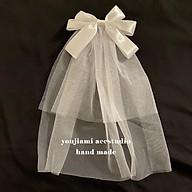 Voan nơ cài tóc cô dâu đơn giản thanh lịch và dịu dàng thumbnail