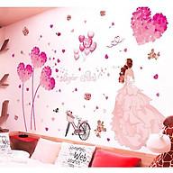 Decal dán tường Trái tim hồng và cô dâu - HP423 thumbnail