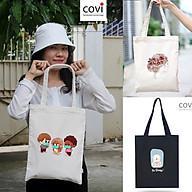 Túi tote đeo vai đeo chéo, túi vải canvas phom đứng,vải bố Hàn Quốc có khóa kéo thời trang COVI màu mộc, đen T5 thumbnail