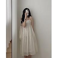 váy suông nữ,đầm suông nữ dáng dài 2 dây buộc vai chất đũi chất mát thumbnail