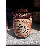 Hũ đựng rượu gạo vẽ hoa đào bát Tràng loại 15L ( 10Kg gạo) thumbnail