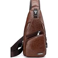 Túi đeo chéo nam da PU tiện dụng- nâu đen thumbnail