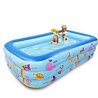 Bể bơi phao cho bé, bể phao bơi trẻ em loại to dày dài 2m1 cao 3 tầng swimming pool kèm bơm điện (Tặng 01 nến điện tử + 01 decal dán vở) thumbnail