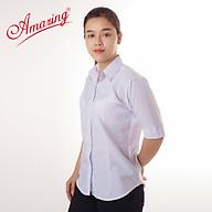 Áo sơ mi nữ Amazing, màu trắng, tay dài, vải KT silk, size từ 40-80kg thumbnail