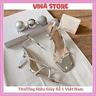 Giày Sandal Nữ Cao Gót 7P Quai Ngang Kẹp Ngón Đính Đá siêu hot- mã VNST01 thumbnail