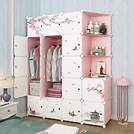 Tủ nhựa lắp ghép 2 màu hồng trắng 20 ô (3 ô xéo) decal hoa anh đào thumbnail