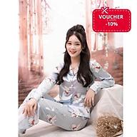 Bộ đồ ngủ Pyjama nữ chất liệu lụa áo dài tay quần dài với nhiều màu thumbnail