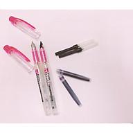 combo 2 bút preppy vỏ hồng thân trong, 2 ống mực tím và 2 piston bơm mực thumbnail