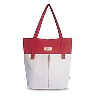 Túi tote vải canvas phom đứng phối 2 nút trước thời trang COVI nhiều màu sắc T8_màu đỏ thumbnail